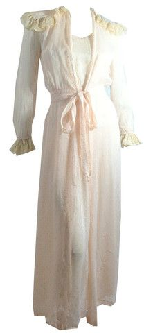 Sheer Pink Swiss Dot Peignoir Set Nightgown and Robe circa 1940s - Dorothea's Closet Vintage