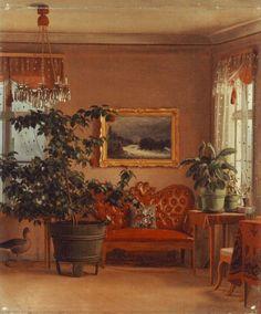 """""""Interior Villa lugnet"""" 1869 Ferdinand von Wright - """"Sisäkuva Lugnetista"""" Ferdinand von Wright (1822-1906) - Vuonna 1837 Ferdinand matkusti Ruotsiin avustam.veljeään Wilhelmiä tämän kuvitustöissä ja toimi hänen sijaisenaan Ruotsin taideakat.piirtäjänä. V.1842 hän opisk.jonkin aikaa taideakatemiassa ja palasi Suomeen 1844.Hän eli lähes erakoituneena,mutta tuotteliaana Haminalahteen synnyinkotinsa viereen rakennuttamassaan Lugnet-nimisessä huvilassa. My Flower, Flowers, Ferdinand, Houseplants, Villa, Interior, Painting, Art, Finland"""