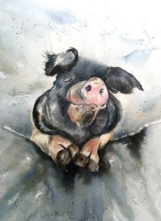 Original watercolor painting of this happy pig. A3 size paper. For sale 😁 Watercolours, Watercolor Paintings, Happy Pig, Multimedia Arts, A3 Size, Gouache, Birds, Texture, The Originals