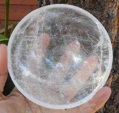 "Crystal Quartz Hand Carved Gem Stone Bowl Reiki Healing 3.99"" - 197 Grams Large"