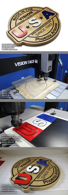 Made In USA Wood Sign Wood backing engraved & routed on 1624R CNC Router / Engraver. Letters are made of PVC with Sticker Vinyl applied for color. Also routed out on the 1624R CNC Rotuer. Watch the Video Click Here Now! www.visionengravers.com  #madeinusa #woodsign #visionrouters