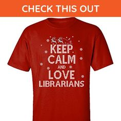 Keep Calm And Love Librarians Jobs Ugly Christmas Sweater - Adult Shirt 5xl Red - Holiday and seasonal shirts (*Amazon Partner-Link)