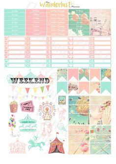 Vintage Carnival Printable Planner Sticker by TheWanderlustPlanner