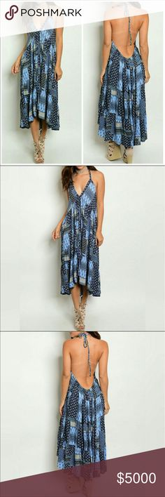 COMING SOON Blue Halter Dress Such a sexy summer dress! Perfect for a casual day out on the hottest of days, or for a day on the beach.              ⭐️100% Rayon Dresses Backless