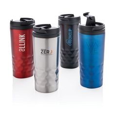 Branded travel mug, stainless steel, geometric detail, capacity & printed with your logo