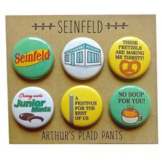 The deluxe Seinfeld pinback buttons or magnet set! This is the perfect gift for any Seinfeld fan! •••••••••••••••••••••••••••••••••••••••••••••••• Im working on creating sets for Jerry, Kramer & Elaine so check back often! George Costanza magnet set can be purchased here:  https://www.etsy.com/listing/127242110/seinfeld-magnets-george-costanza-badges?ref=shop_home_active  Be sure to like our FB page as new products always show up there first! https://www.facebook.com/arthursplaidpants…