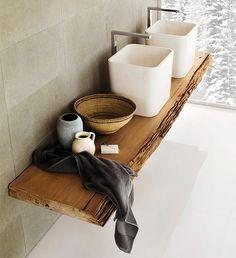 15 Spectacular Modern Bathroom Design Trends Blending Comfort, Elegance and Artistic Materials Bad Inspiration, Bathroom Inspiration, Interior Inspiration, Bathroom Taps, Bathroom Interior, Design Bathroom, Vanity Design, Sink Design, Wood Bathroom