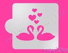 Cookie Stencil Wedding Cookie Stencil Swan stencil by makeandfun