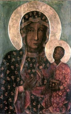 Our Lady of Czestochowa Black Madonna and Child Jesus Icon CANVAS print from Poland Catholic Paintings Virgin Mary Print Art Polish Gifts Oil Painting Gallery, Modern Oil Painting, Catholic Art, Religious Art, Luke The Evangelist, Juan Pablo Ll, Our Lady Of Czestochowa, Catholic Pictures, Joseph