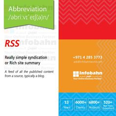 RSS – Really simple syndication or Rich site summary. A feed of all the published content from a source, typically a blog.  #infobahnconsultancy #infobahn #ibc #seo #searchengineoptimization #digitalmarketing #godigital #digitalmarketingspecialist #onlinemarketing #socialmediaexperts #socialmedia #socialmediamarketing #website #websitecompany #webdesign #itcompany