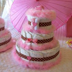 Pretty pink diaper cake!