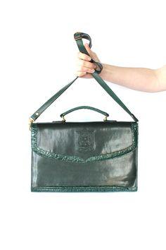 Vintage 80s Dark Emerald Green Leather Large Envelope Purse // Messenger Bag. $68.00, via Etsy.