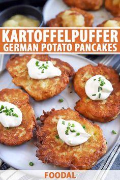 Potato Dishes, Potato Recipes, Vegetable Recipes, Food Dishes, Potato Food, German Potato Pancakes, German Potatoes, Oktoberfest Food, Kfc