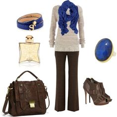 Brown and blue such a pretty match, created by leah-strid on Polyvore
