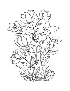 Digital Coloring Books for Adults Beautiful Instant Digital Coloring Pages for Adults Flower Coloring Pages, Coloring Book Pages, Crewel Embroidery, Embroidery Patterns, Flower Patterns, Flower Designs, Art Quilling, Fleur Design, Plant Drawing