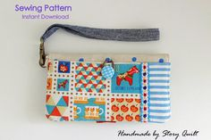 Very cute iphone / cell phone wristlet clutch purse or wallet.  Easy to sew within the day with few pockets for your phone, credit card, cash and other small item.    sewing pattern  iphone wallet , pattern,  sewing tutorial, phone cases tutorial,  wallet tutorial  purse pattern, gadget holder