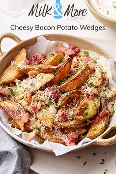 Bacon and Cheese Potato Wedges Bean Recipes, Cod Recipes, Cooking Recipes, Kale Recipes, Eggplant Recipes, Roast Recipes, Healthy Recipes, Noodle Recipes, Casserole Recipes