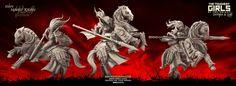 Update - Mounted Knights (Sisters - F) Elf Images, Dark Elf, Elves, Sisters, Lion Sculpture, Miniatures, Fantasy, Minis, Anime