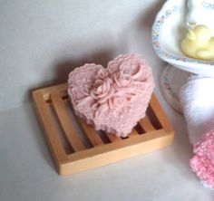 Valentines Day Lace Heart Shaped Handmade Castile Soap Pink Rose Floral Lacey