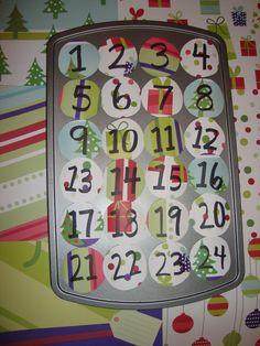 Homemade Advent calendar out of a muffin pan!