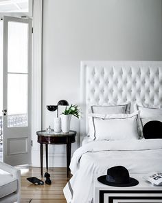 Heatherly Design offers a simply stunning range of upholstered bedheads, fully upholstered beds, footstools and storage boxes for the discerning designer. Shower Makeover, High Beds, Upholstered Beds, How To Make Bed, Design Files, Cosy, Bedroom Furniture, Home Office, Outdoor Living