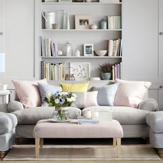 Neutral living room - pastels colour with cozy sofas and footstool