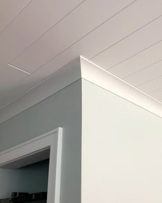 uDecor Crown Molding has a cove style that matches well with a plank ceiling. With many ceilings going for the planked look, try a crown moldi… – Ceiling Decorations Cove Crown Molding, Ceiling Crown Molding, Shiplap Ceiling, Ceiling Trim, Plank Ceiling, Moldings And Trim, Crown Molding In Bathroom, Crown Molding Modern, Faux Crown Moldings
