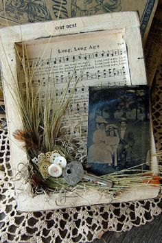 found object and ephemera shadow box assemblage.Blessed and Distressed: Altered Art Sheet Music Crafts, Sheet Music Art, Altered Canvas, Altered Art, Altered Boxes, Memory Frame, Book Page Crafts, Heritage Scrapbooking, Frame Crafts