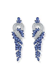 *Free shipping worldwide* Each of these earrings features a long tail of marquise synthetic sapphire. The intricate details make them even more beautiful when seen up close. | bridal earrings | wedding earrings | bridesmaid earrings | prom earrings | silver earrings | sapphire blue earrings | bridal jewelry | wedding jewelry | prom jewelry | bridal jewellery | wedding jewellery | prom jewellery