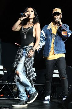 The couple first set tongues wagging back in June when the pair shared an on-stage kiss during this Anaheim concert Funky Fashion, 90s Fashion, Fashion Outfits, Black Celebrities, Celebs, Big Sean And Jhene, Jhene Aiko, Prom Outfits, Tent Dress