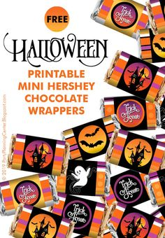 FREE Printable Halloween Chocolate Bar Wrappers | These cute and easy-to-use mini chocolate bar wrappers fit any one of the mini Hershey candy bars | Great for Halloween parties, especially when used with the matching FREE Hershey Kisses labels, invitation, wineglass lampshade and banner printables.   #HalloweenParty #HalloweenCandy #MiniHersheyWrappers #HalloweenPrintables #FREEPrintables #CarlaChadwick Halloween Parties, Halloween Candy, Halloween Kids, Mini Hershey Bars, Hershey Kisses, Printable Labels, Party Printables, Free Printables, Custom Chocolate