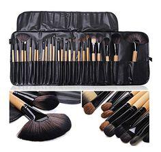 6f4d0e1c95 LyDia® UK STOCK Professional 24pcs Natural Wooden handle Black brown Make  Up Brush Set with Case  Amazon.co.uk  Beauty