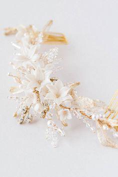 AMARIS Gold wedding headpiece ivory floral hair от percyhandmade