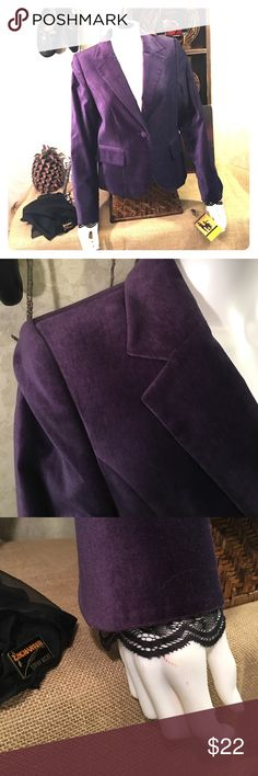 Purple velvet jacket coat blazer 10P 10 petite Stevie Nicks in essence, this lovely jacket is a royal purple. Black lace accents at the sleeves and hem at the back. The soft lace peeks out of the velvety fabric as if the woman wearing this has something magical just out of your reach. More info coming. Jackets & Coats Blazers