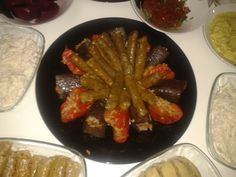 Kurutulmuş Biber \ Patlıcan Dolması / Yaprak Sarma - Stuffed Sun Dried Aubergines \ Bell Pepper \ Vine Leaves