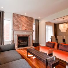 living room red brick fireplace decor Formal Living Room Living