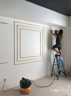 How to install modern wall molding - Remington Avenue - How do you make a HUGE design impact on one wall without any wall decor? You guessed it, by adding t - Interior Walls, Decor Interior Design, Interior Colors, Interior Livingroom, Interior Plants, Interior Modern, Interior Ideas, Interior Architecture, Modern Wall Paneling