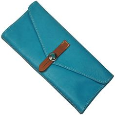 Handmade Women's leather Wallet in turquoise named Aris