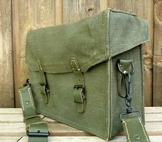 fdc7f6c1e8 Canvas and Leather Messenger Bag ~ Vintage French Military Satchel ~  Incredible