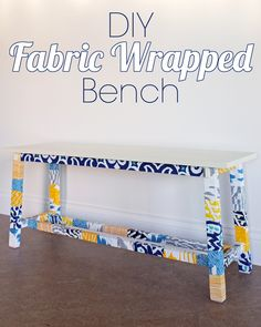 DIY Fabric Wrapped Bench. New life to a plain-Jane bench with fabric scraps and Mod Podge. 4men1lady.com