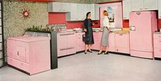 Complete and total dream vintage appliances. #pink #1950s #kitchen #vintage #decor