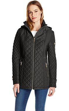 Calvin Klein Women's Quilted Jacket with Hood, Black, Small ❤ Calvin Klein Women's Outerwear