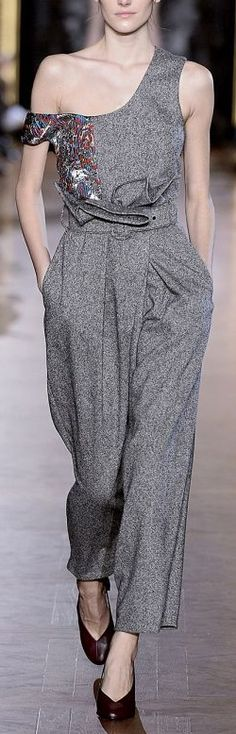 Stella McCartney ~ Winter One Shoulder Grey Pantsuit 2015