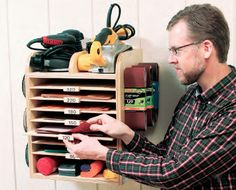 Shop Sandpaper and Abrasives Shelving Organizer - Free Woodworking Plan. www.Rockler.com