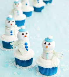 Frosted cupcakes + doughnut holes = adorable #dessert snowmen! http://www.parents.com/recipe/cupcakes/frosty-and-friends-cupcakes/?socsrc=pmmpin110912wwfFrostyCupcakes
