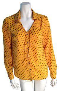 Jaclyn Smith Yellow Shirt Top Marigold