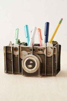So retro and creative. Vintage Camera Artful Desk Organizer - Urban Outfitters #UOonCampus #UOContest