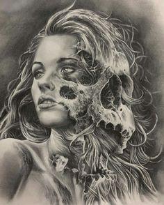 Girl face skull
