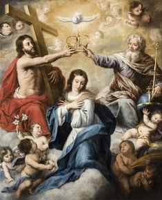Coronation of the Virgin / Coronación de la Virgen // 18th century // Juan Ruiz Soriano // From: Capilla de la Pasión // Museo de Bellas Artes de Sevilla // #HolyTrinity #Mary #María