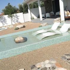 "Extended Summers here in the ""Old Pueblo"" 🌵🌞 #Arizonadesigner #modernpools #poolshelfie #pooldesigner #tucsondesigner #modpools #pooltile #outdoorliving #boulder #desertlandscaping #poolloungers #desertmodern @oceansideglasstile # Outdoor Pool Furniture, Outdoor Decor, Outdoor Ideas, Outdoor Spaces, Backyard Landscaping, Backyard Ideas, Pool Ideas, Landscaping Ideas, Pool Lounge Chairs"